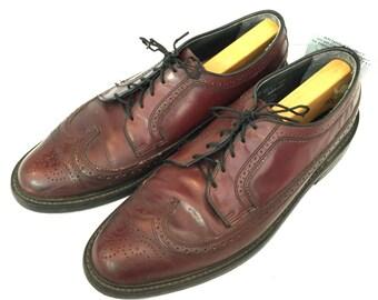 Vintage Wingtip Shoes Mens Oxford Shoes Leather Wingtip Shoes Burgundy Brown Wingtip Lace Up Leather Oxford Shoes Leather Wingtip
