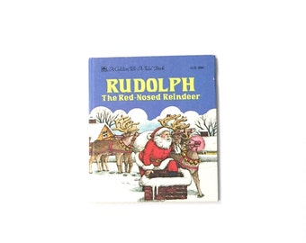 """Vintage Christmas Book, Vintage Book, Christmas Decor, """"Rudolph the Red-Nosed Reindeer"""" A Golden Tell-A-Tale Book 1980"""
