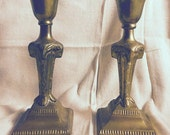 SALE - Ram Art Deco Candlesticks - Indian brass candleholders - vintage brass candlesticks - pair - aries - vintage decor - hollywood regenc