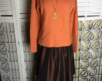 Lands End Cashmere Sweater - 80's cashmere sweater - autumn sweater -Halloween sweater - orange sweater - preppy sweater - M