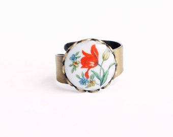 Tulip Ring Vintage Glass Floral Cameo Red Flower Ring Adjustable Ring Red Tulip Jewelry