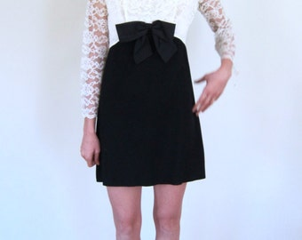 Black & Cream 1960's Cocktail Dress