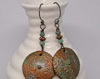 Copper Patina Flower Medallion Earrings | polymer clay, copper, and Czech glass bead dangles on copper wire