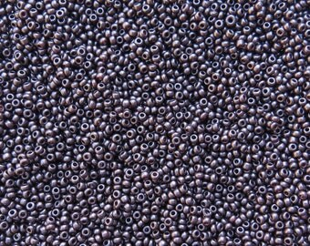 8/0 SILKY Opaque Dark Bronze Czech Glass Seed Beads 10 Grams (CS189)
