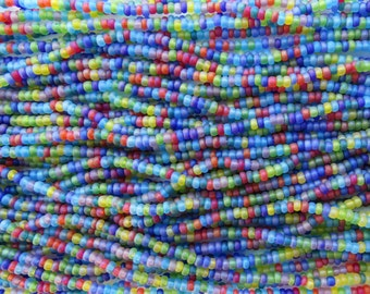 8/0 Matte Opaque Color Mixed Czech Glass Seed Bead Strand (CW63)