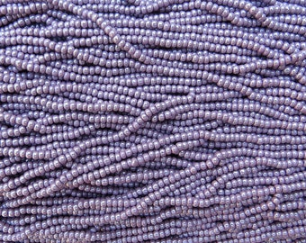8/0 (0.80mm hole size) Opaque Lavender Pearl Czech Glass Seed Bead Strand (CW45)