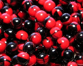 LIMITED STOCK 8mm 2 Tone Opaque Black and Red Czech Round Glass Beads - Qty 25 (AW267)