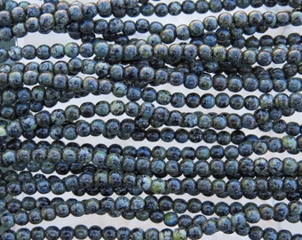 4mm Opaque Black Picasso Czech Glass Round Beads - Qty 100 (BS317)