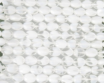 11x8mm Crystal White Cloud Czech Glass Oval Beads - Qty 20 (BS423)