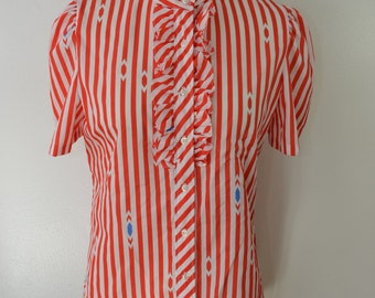 last chance Vintage LUCKY WINNER women's blouse short sleeve shirt RUFFLES size 10 usa