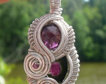 Wire Wrapped Pendant ~ Pink Tourmaline, Watermelon Tourmaline, Garnet and Sterling Silver ~ Handcrafted, Genuine Gemstones, Hippie, Wirewrap