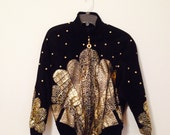 """80's Vintage """"JULIAN K."""" Woman's Black Suede Leather with Gold Jacket"""