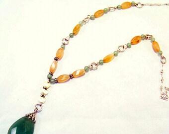Y Necklace | Peach Quartz Necklace | Raw Stone Bead Necklace | Green Aventurine Necklace | Gemstone Y Necklace | Green Y Necklace