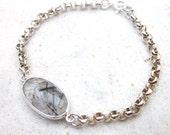 Black rutile quartz bracelet, oval rutilated quartz gemstone bracelet, thick sterling silver chain bracelet, minimalistic modern jewelry