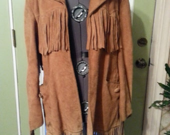Vintage Leather Fringe coat jacket James S Lee custom  70's 80s pioneer trapper hippie