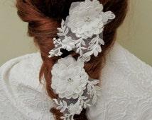 Ivory Flower Hair Pin, Bridal Flower Hair Pins, Wedding Ivory Flower Pins, Boho Hair Piece, Wedding Hair Accessories, Bohemian Hair Pieces