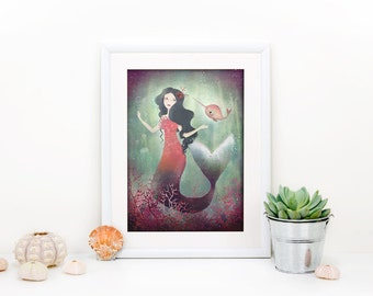 Underwater Friends 2/100 - Mermaid and Narwhal - Deluxe Edition Print
