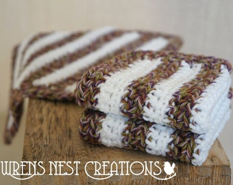 Crochet Washcloths, Dishcloths, Cotton -  Fall Twist Stripe- Brown Purple Green Crocheted 3 Piece Set