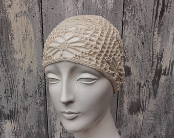 handmade cloche cotton crochet LYA white 1920s