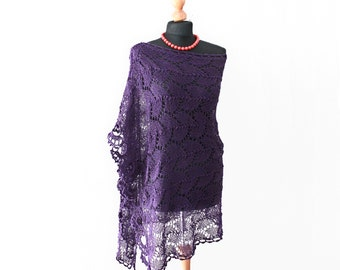 wedding shawl purple, lace knitted stole, violet wrap, wedding shawl handknitted lace big size purple violet