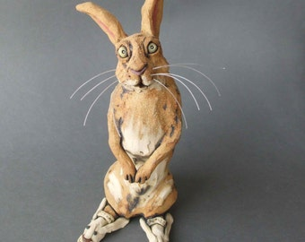 Bunny in Bunny Slippers Whimsical Ceramic Sculpture