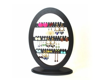 Earring Holder, Earring Rack, Jewelry Organizer,Earring Display, Wooden jewelry Holder, Oval Earring Holder, Black Earring Holder, Handmade