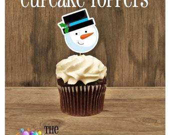 Christmas Party - Snowman Double Sided Holiday Cupcake Toppers by The Birthday House