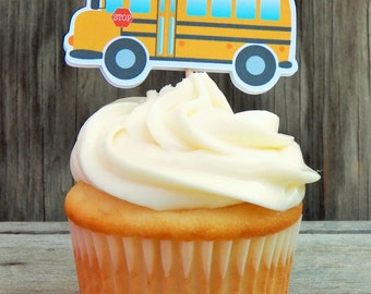 Back to School Party - Set of 12 School Bus Cupcake Toppers by The Birthday House