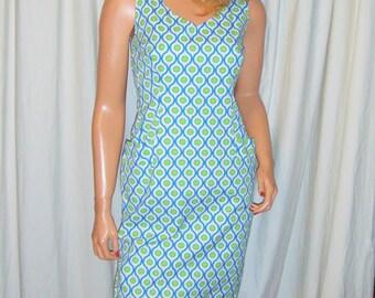 Vintage Blue Green Polka Dot Sheath Dress M