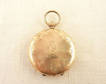 Incredible Rare Antique Victorian Gold Filled Pop Out Four Photo Locket with Old Photos and Tin Type Pocket Watch Style