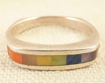 Size 9 Vintage Sterling Rainbow Enamel Inlay Squared Band Ring
