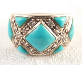 Size 8 Vintage Sterling Faux Turquoise and Cubic Zirconia Ring