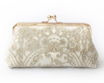 Metallic silver and gold Alencon Lace Bridal Clutch in Ivory 8-inches