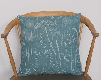 Paper Meadow cushion in teal