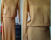 Hold for KJOHNSON Vintage 70s Two Piece Beige Brown Sweater / Skirt Set Size 13/14