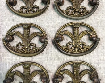 Vintage Set Of French Handles, French Plume Design, Shabby Chic Gorgeous! Set of 6
