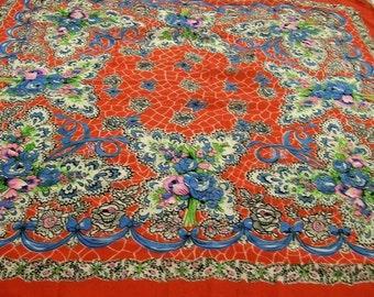 Vintage Scarf, Floral Print Scarf, Red Scarf with Colorful Design, Colorful Flowered Scarf, Red Printed Scarf
