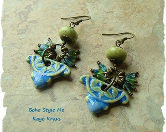 Spanish Dancers, Boho Earrings, Handmade Porcelain and Stone Earrings, Blue and Green, BohoStyleMe, Kaye Kraus