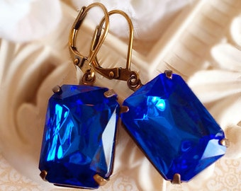 Sapphire Earrings - Blue - Victorian Jewelry - Gift - WINDSOR Sapphire