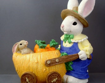 Christopher the Carrot Carting Bunny Figurine