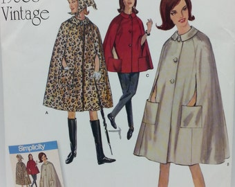 Simplicity J0214 Misses Cape in Two Lengths and Scarf Pattern1960s Vintage Reproduction Pattern Pattern includes Misses size: 14,16,18,20,22