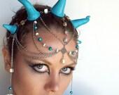 Kraken Sea Dragon Headdress in Blue and Silver