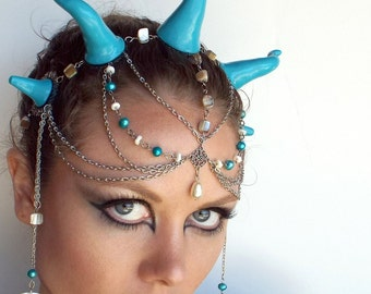 Kraken Sea Dragon Headdress in Blue and Silver