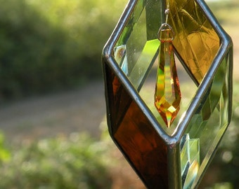 3D Stained Glass Sun Catcher Topaz Crystal