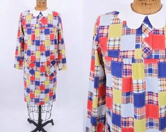 1960s mod dress | 60s patchwork print dress | vintage peter pan collar dress | S