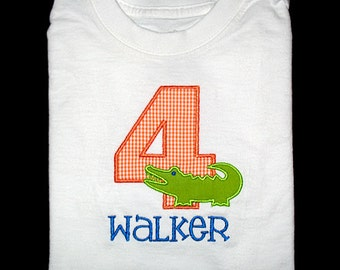Custom Personalized Applique Birthday Number ALLIGATOR and NAME Shirt or Bodysuit - Orange Gingham and Royal Blue