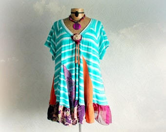 Colorful Boho Tunic Lagenlook Shirt Up Cycled Women's Top Plus Size Clothing Ladies Hippie Clothes Funky Bohemian A-Line Top 2X 3X 'JUNIPER'
