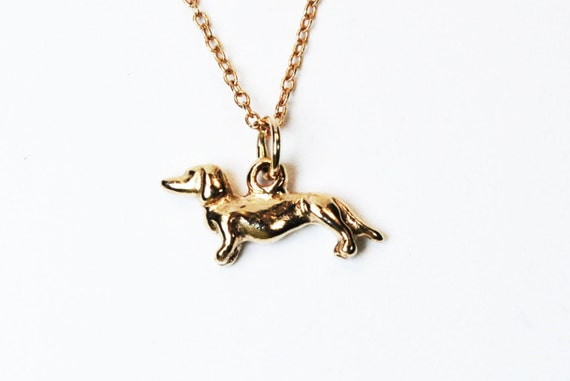 Solid Gold Tiny Dachshund Necklace