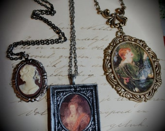 3 Necklaces Handmade Clearance Sale Wholesale Gothic Ornate Filigree Necklace Rossetti Came Elizabeht I Queen Baroque Whimsical Antiqued