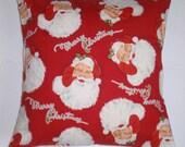 "CHRISTMAS Throw Pillow Cover, Merry Christmas Santa Pillow Cover, Vintage Holiday Print Throw Pillow Cover, Christmas Pillow, 16x16"" Square"